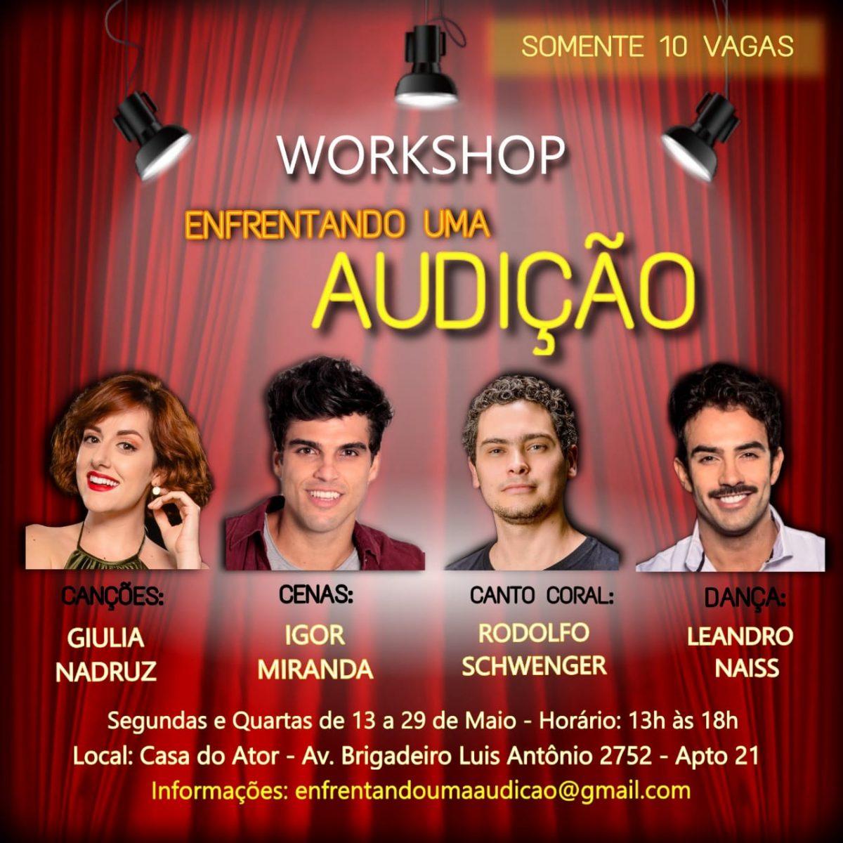 """Últimas vagas: Workshop """"Enfrentando uma Audição"""" em São Paulo"""