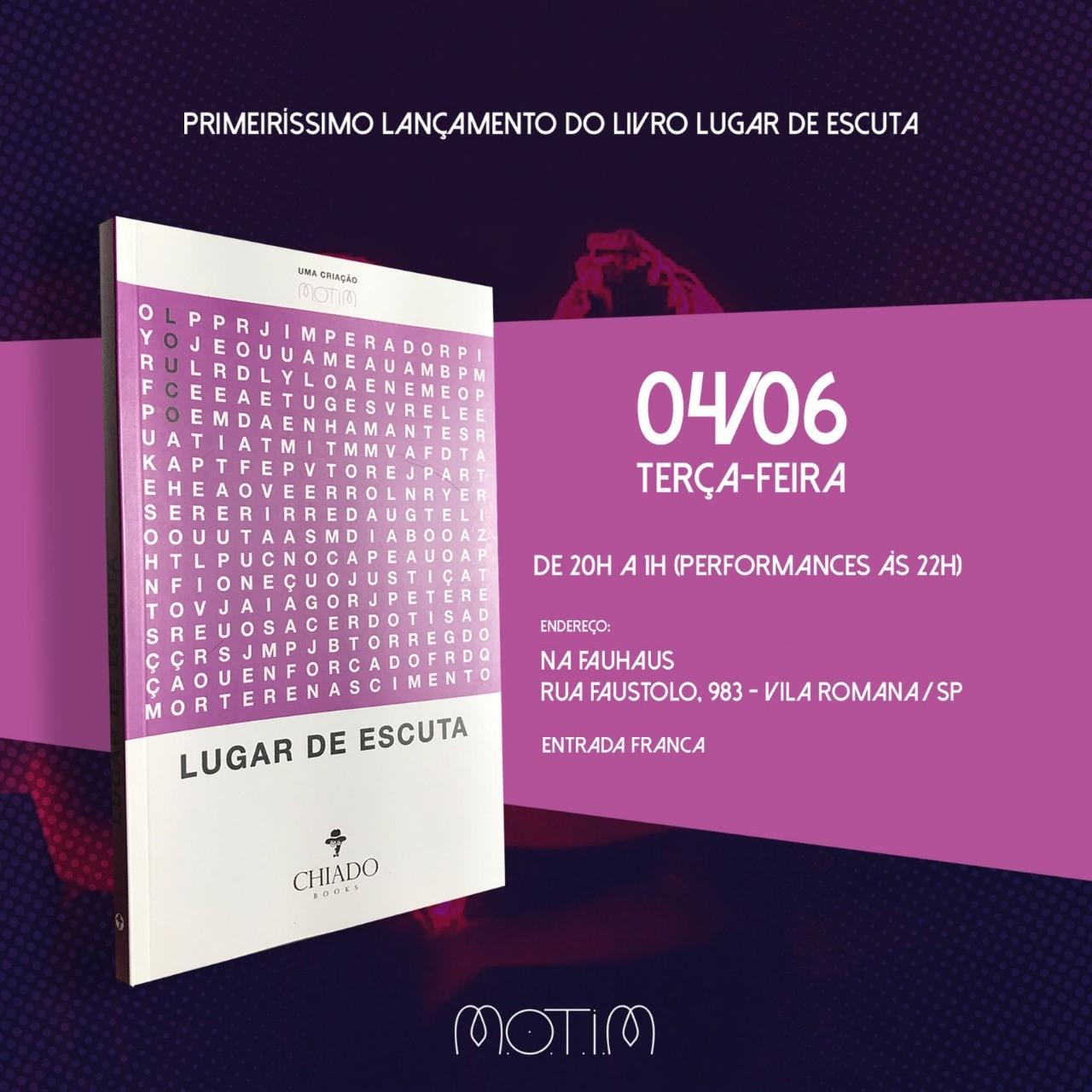 """Coletivo M.O.T.I.M promove primeiro evento de lançamento do livro """"Lugar de Escuta"""""""